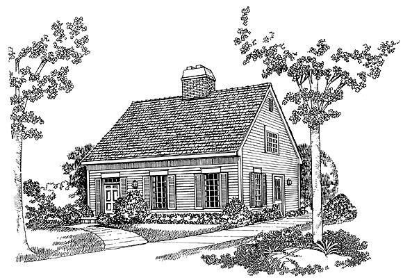 Elevation of Cape Cod   House Plan 95015