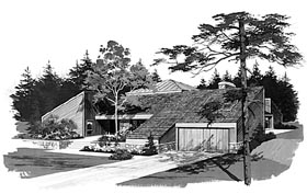 Contemporary House Plan 95018 with 3 Beds, 3 Baths, 2 Car Garage Elevation