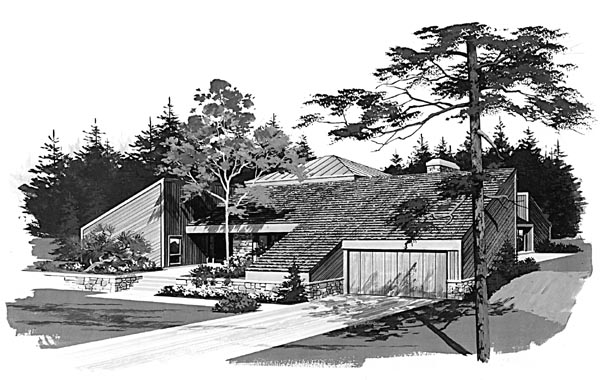Contemporary Elevation of Plan 95018