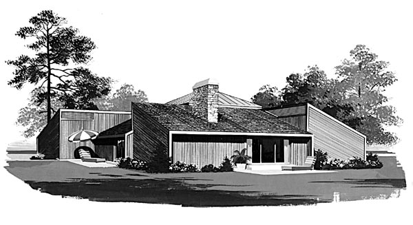 Contemporary Rear Elevation of Plan 95018