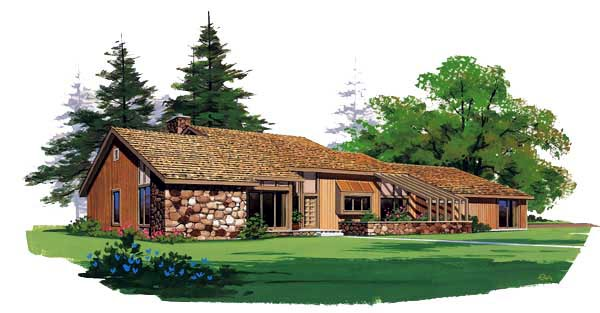 Contemporary Ranch House Plan 95019 Elevation