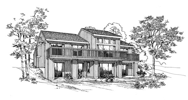 Contemporary House Plan 95021 Rear Elevation
