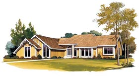 House Plan 95024 | Contemporary Style Plan with 1835 Sq Ft, 2 Bedrooms, 2 Bathrooms, 2 Car Garage Elevation