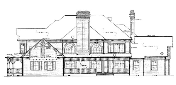 Rear Elevation of Victorian   House Plan 95027