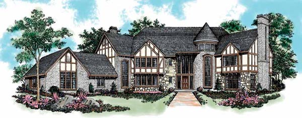 Tudor , European House Plan 95028 with 5 Beds, 6 Baths, 3 Car Garage Elevation