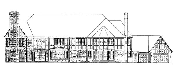 Tudor , European House Plan 95028 with 5 Beds, 6 Baths, 3 Car Garage Rear Elevation