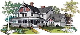 Victorian , Farmhouse House Plan 95030 with 5 Beds, 4 Baths Elevation