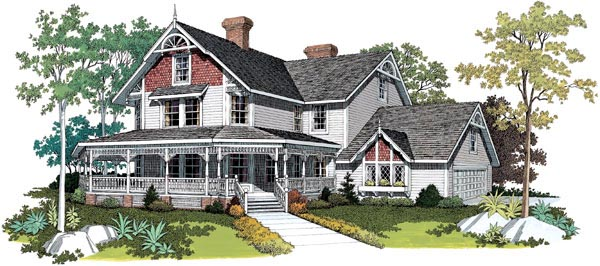Farmhouse Victorian House Plan 95030 Elevation