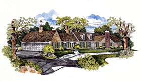 Traditional House Plan 95032 with 3 Beds, 3 Baths, 3 Car Garage Elevation