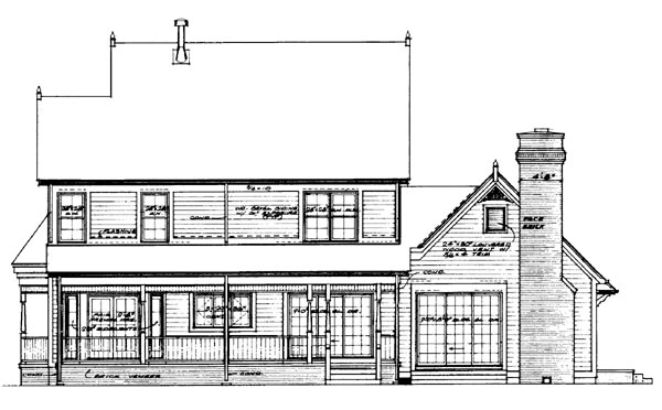 Country Farmhouse Victorian House Plan 95033 Rear Elevation