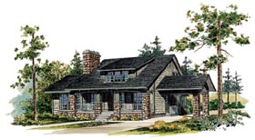Bungalow , Craftsman House Plan 95035 with 3 Beds, 3 Baths Elevation