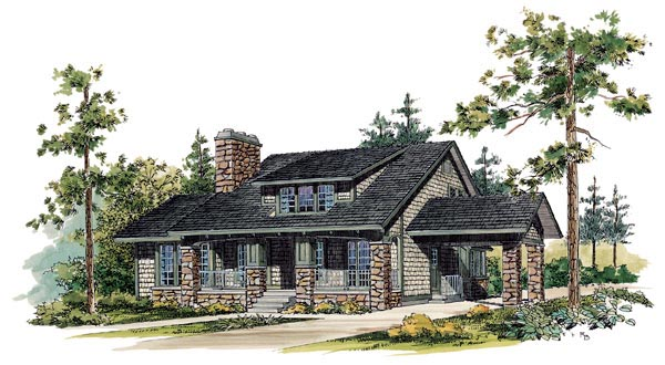 Bungalow Craftsman House Plan 95035 Elevation