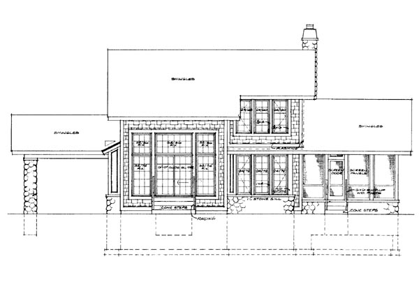 Bungalow Craftsman House Plan 95035 Rear Elevation