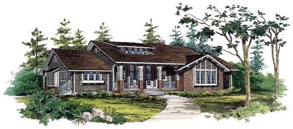 Bungalow , Craftsman House Plan 95037 with 3 Beds, 3 Baths Elevation