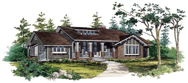 Bungalow Craftsman House Plan 95037 Elevation