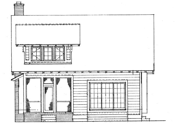 Craftsman , Bungalow House Plan 95038 with 3 Beds, 3 Baths Rear Elevation