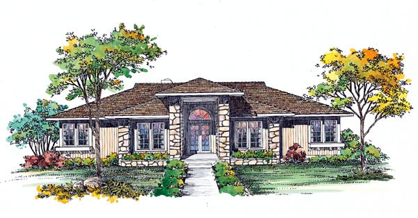 Prairie Style, Southwest House Plan 95039 with 3 Beds, 2 Baths Elevation