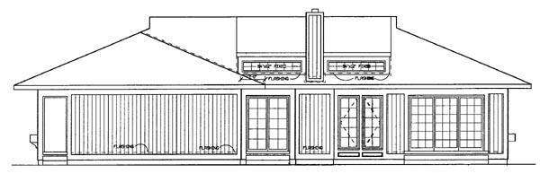 Rear Elevation of Prairie Style   Southwest   House Plan 95039