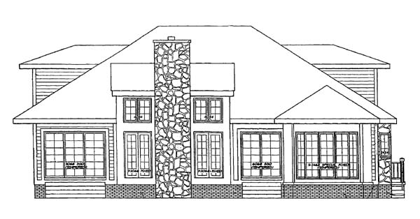 Southwest House Plan 95040 with 3 Beds, 3 Baths Rear Elevation