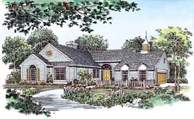 House Plan 95043   Ranch Style Plan with 1689 Sq Ft, 3 Bedrooms, 2 Bathrooms, 2 Car Garage Elevation