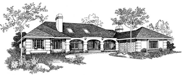 House Plan 95044 | Mediterranean Style Plan with 3054 Sq Ft, 4 Bedrooms, 4 Bathrooms, 2 Car Garage Elevation