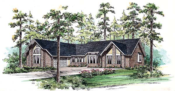 Contemporary Ranch House Plan 95045 Elevation