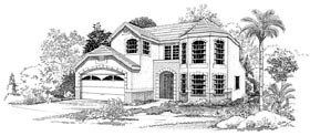 House Plan 95051 | Mediterranean Style Plan with 1606 Sq Ft, 3 Bedrooms, 3 Bathrooms, 2 Car Garage Elevation