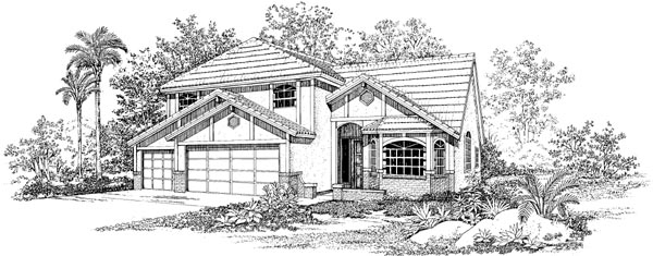 Florida House Plan 95053 with 4 Beds, 3 Baths, 3 Car Garage Elevation
