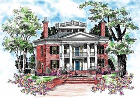 Plantation , Colonial House Plan 95058 with 4 Beds, 4 Baths Elevation