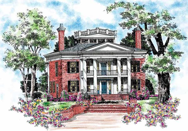 Colonial Plantation House Plan 95058 Elevation