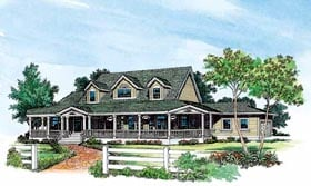 Country , Farmhouse House Plan 95064 with 4 Beds, 3 Baths, 2 Car Garage Elevation