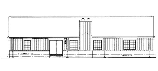 Ranch House Plan 95070 Rear Elevation