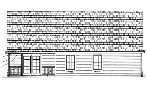 One-Story , Ranch , Rear Elevation of Plan 95072