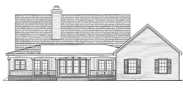 House Plan 95074 | Country Style Plan with 2170 Sq Ft, 3 Bedrooms, 3 Bathrooms, 2 Car Garage Rear Elevation