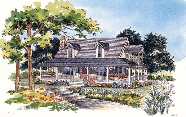 Country House Plan 95076 with 3 Beds, 2 Baths Elevation