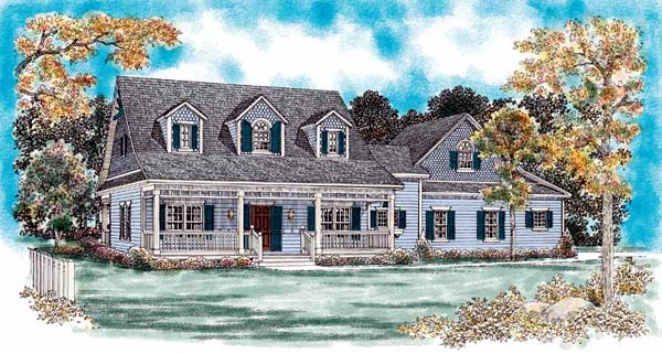 Cape Cod , Country House Plan 95077 with 3 Beds, 3 Baths, 2 Car Garage Elevation