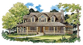 House Plan 95081 | Log Style Plan with 1715 Sq Ft, 3 Bedrooms, 2 Bathrooms Elevation