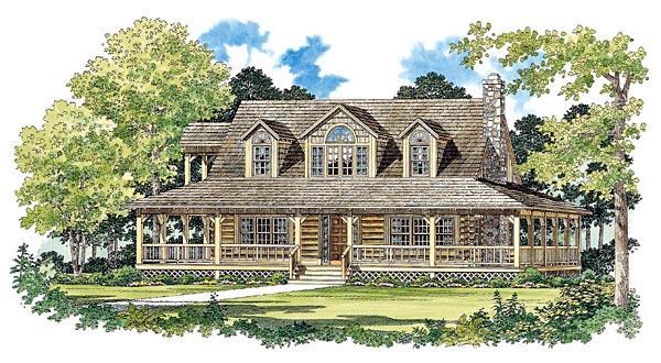 Log House Plan 95081 Elevation