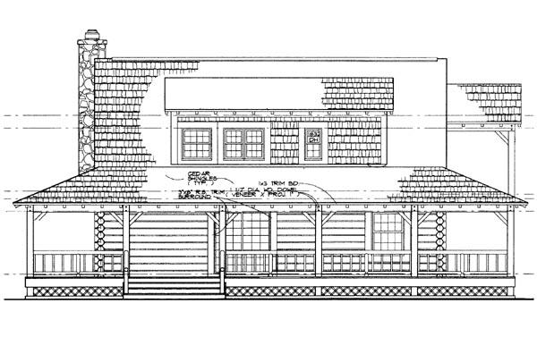 Log House Plan 95081 Rear Elevation