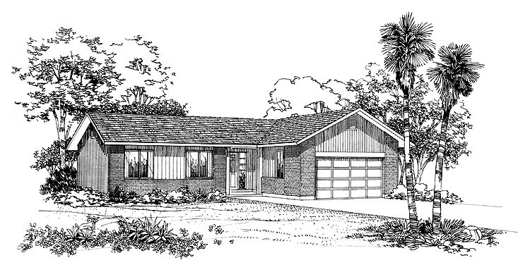 Ranch House Plan 95085 with 3 Beds, 2 Baths, 2 Car Garage Elevation