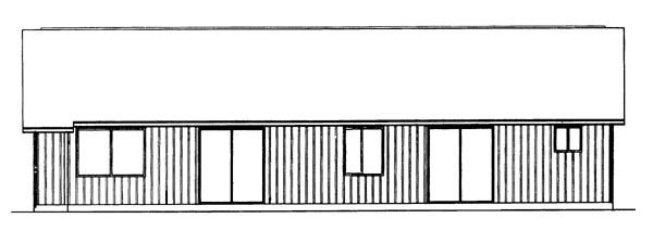 Ranch , Rear Elevation of Plan 95085