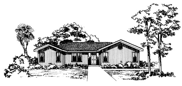 Contemporary, One-Story House Plan 95086 with 3 Beds, 2 Baths, 2 Car Garage Elevation