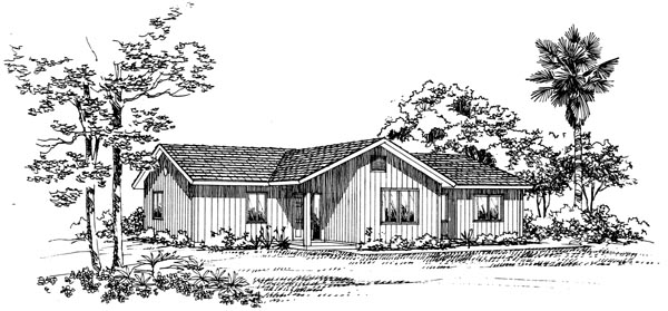 Ranch House Plan 95087 with 3 Beds, 2 Baths, 2 Car Garage Front Elevation