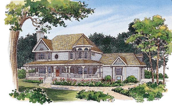 Farmhouse Victorian House Plan 95089 Elevation
