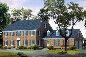Colonial House Plan 95105 with 4 Beds, 3 Baths, 2 Car Garage Elevation