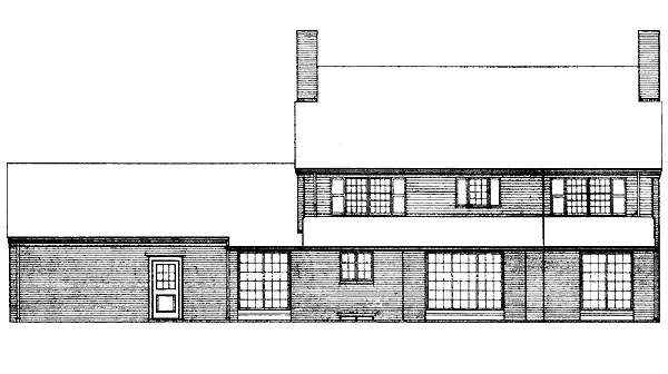 Colonial House Plan 95105 Rear Elevation