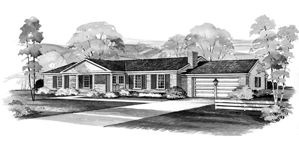 Ranch House Plan 95106 Elevation