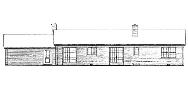 Ranch House Plan 95106 Rear Elevation