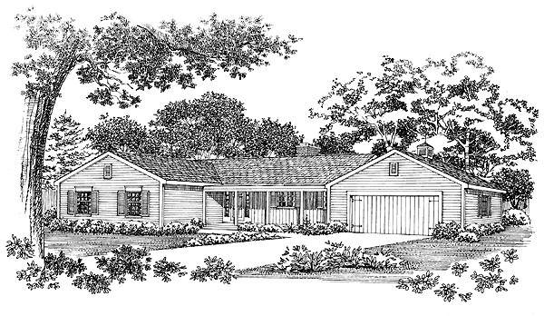 Ranch House Plan 95109 Elevation