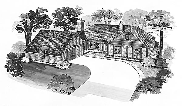 Ranch House Plan 95113 with 3 Beds, 3 Baths, 2 Car Garage Elevation